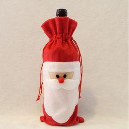 Decorazioni del partito di cena di natale online-Moda New Christmas Red Bottle Bottle Cover Bags Christmas Dinner Table Decoration Decorazioni per la casa per la festa di Natale in cucina