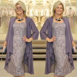 Wholesale Lace Jackets For Wedding Gowns - Sexy Short Mother of the Bridal Groom Dresses with Jacket for Wedding Party Guest Gowns Straps Sheath Lace Chiffon Tea Length Godmother