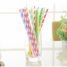 Wholesale Wholesale Paper Tableware - LOT 100 Candy Color Disposable Paper Striped Drinking Straw Retro Party Wedding Tableware for Party FREE SHIPPING