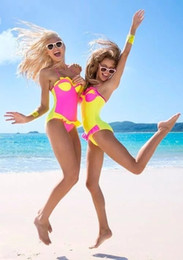Wholesale Neon Bathing Suits - 2016 Summer Cute Sexy Push Up One-Piece Lace Swimsuit Women Sweet Neon Color Strappy Bathing Suit Swimwear Lady Monokini 1977