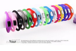 Wholesale Fitness Silicone Wristbands - Candy Color Anion pedometers Silicone Fitness Tracker Wristband Rubber Bracelet pedometer Portable For Outdoor Sport Xmas Kid Gifts D873