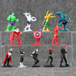 Wholesale Anime Heroes - 12Pcs set Anime Super Hero Marvel The Avengers Mini PVC Action Figures Collectible Model Toys Dolls Great Gifts for Kids 5-7cm