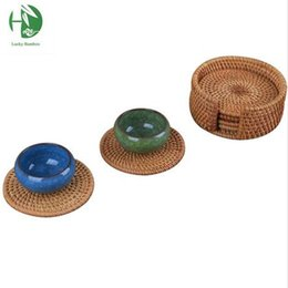 Wholesale Traditional Chinese Tea Set - Wholesale - Rattan tea cup mats coaster drink table mat set round handmade kungfu tea coffee cup pads 6 sizes kitchen household placemat