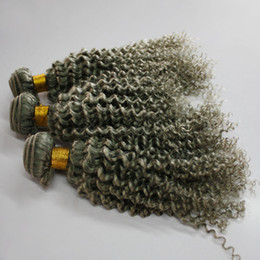 Wholesale Bleach Dye - Hot sale silver grey hair extensions 80g 100g 120g piece human grey hair weave brazilian kinky curly gray blonde brown vierge hair extension