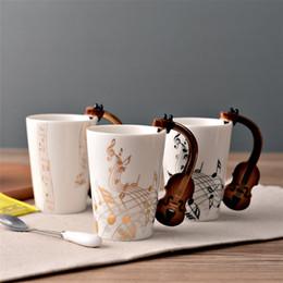 Musica de violino on-line-Criativo Copo De Cerâmica com punho de violino Personalidade Música Nota Suco De Leite Limão Caneca De Café Chá De Café Copo Home Office Drinkware melhor Presente