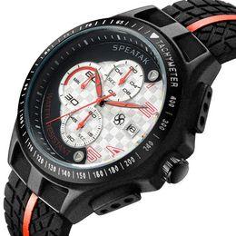Wholesale Motor Shocks - New Brand men's watch motor racing quartz date 6 needle stopwatch silicone strap stainless steel watchcase Relogio masculino