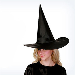 Wholesale Costume Characters For Sale - 2015 Cool Adult Women Black Witch Hat For Halloween Costume Accessory Hot Sale Costume Party Props Free Shipping 00985