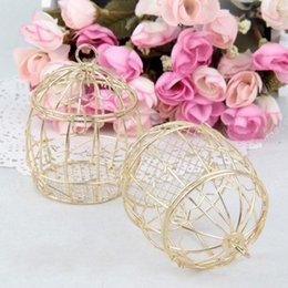 Wholesale Birdcage Iron - Wedding Favor Box European creative Gold Matel Boxes romantic wrought iron birdcage wedding candy box tin box wholesale Wedding Favors