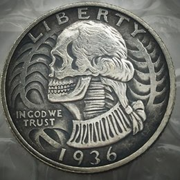 Wholesale hobo hand - Hobo Creative 1936D Washington Quarter Dollars skull zombie skeleton hand carved Copy Coins