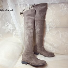 Wholesale Elastic Over Knee Boots - Wholesale 2017 New Women fashion 100% Genuine leather knee high boots Hot Winter Boots 2.5cm Gray brown Boots Size 35 to 40.