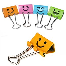 Wholesale Book Clip Notes - 48pcs lot Smile Metal Binder Clips For Notes Letter Paper Books Home Office School 19mm 25mm Clip File Paper Fashion Prize