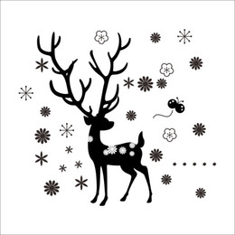 Wholesale Sports Backdrops - Happy New Year Christmas Deer Snowflake Wall Stickers Living Room Bedroom Children's Room Backdrop Stickers Removable Waterproof Wholesale