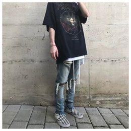 Wholesale Dotted Jeans - FEAR OF GOD Jeans Justin Bieber Washed Zipper Hole FOG Jeans Fashion Men Tricolor Knee Hole Trousers High Street HFYTKZ013