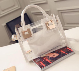 Wholesale Pvc Clear Handbags - 1 pc 2017 New Womens bags Clear Designer Handbags Hottest Totes PU Leather Shoulder Composite bag 5Colors