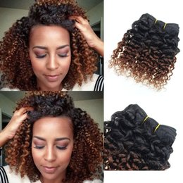 Wholesale Short Brazilian Hair Weave - Human Hair Extensions Brazilian Virgin Hair Kinky Curly weave 6 Bundles 8 inch short bob Ombre weave 1b 33# Deep Curly Hair Products