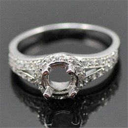 Wholesale Round Setting Diamond Ring 6mm - Round 6mm Solid 14kt White Gold Natural Diamond Engagement Ring N006