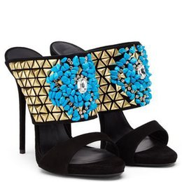 Wholesale Embellished High Heels - Shining eye-sighted turquoise blue beaded high heel slippers embellished with gold studs black suede dress pumps US10