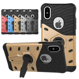 Wholesale Rotary Holder - 360 Degree Rotary Armor Case TPU+PC hybrid Cases Shock-proof Stand Holder Kickstand For iPhone X 7 6 Plus Samsung S7 Edge S8 Plus