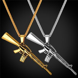 Wholesale Stainless Steel Beaded Chains - M16 Necklace For Men 316L Stainless Steel Gun Pendant 18K Gold Plated Punk Fashion