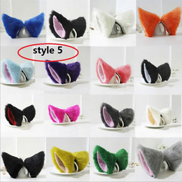 Wholesale Diamond Hair Clip Children - 5 style available Hot Velvet Printed Women Barrettes Fashion Cosplay Party Anime Cat Ear Hair Accessories Children Girls Cat Ear Hair 30pcs