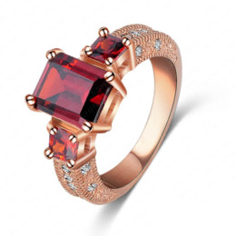 Wholesale Cheap Ring Real - Promise Rings Women Fashion Real 18K Rose Gold Plated Red Clear Austrian Crystal Dating Ring Ri-HQ1018-A Cheap fashion cocktail ring