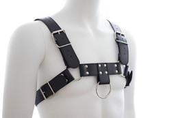 Wholesale Male Slave Clothes - Male slave garment Sex Bondage PU Leather Mens Heavy Duty Chest Harness Half Body Restraint Macho Play Costume