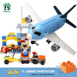 Wholesale Building Blocks Airport - Large Size Happy Airport Plane Building Blocks Baby 2-5 years Constructor set Duplo Sized Bricks Toy for Children