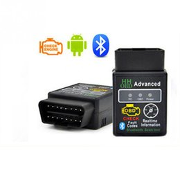 Wholesale Wholesale Hh - Wholesale- 2016 New arrival Version 2.1 ELM327 HH OBD Advanced MINI ELM 327 V2.1 Black Bluetooth OBD2 Car CAN Wireless Adapter Scanner Tool