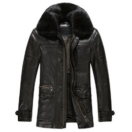 Wholesale Leather Jackets Mink Collar - Fall-KUYOMENS ePacket Free Shipping PU Leather Thick Jackets Mens Coat Mink Collar Windproof Men's Leather Jackets Casual Coats