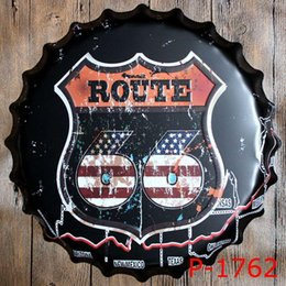 Wholesale Usa Poster - 40cm diameter usa beer route 66 road sin city tin sign metal poster adverter beer bottle cap Tin Signs Decor Home Club Bar wholesale 160911#