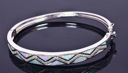Wholesale White Opal Bangle Bracelet - Wholesale & Retail Fashion Fine White Fire Opal Bangles 925 Silver Plated Jewelry For Women _DSC312