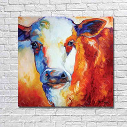 Wholesale Pictures Cows - New Arrivals Handmade Oil Painting Animal Pop Art Home Decor Living Room Wall Pictures Wall Art Decorative Cow Oil Painting