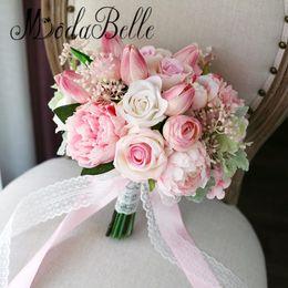 Wholesale Artificial Pink Gerbera - modabelle Tulip Roses Pink Bridal Bouquet Artificial Peony Rose Bride Flower Bouquet Wedding Buque De Flores Home Decorative