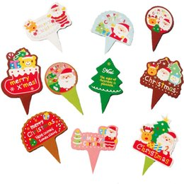 Wholesale Cupcake Items - 100Pcs lot Christmas Cupcake Topper Merry Xmas Cake Wrappers Decoration 3.8X2.6cm Items Cute Tree Gear Stuff Supplies Products
