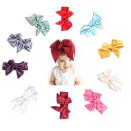 Wholesale Vintage Headdresses - Baby Girls Vintage Bow Headbands Children Kids Satin Cloth DIY Hairbands Princess Headdress Big Bowknot Hair Accessories 10 Colors KHA522