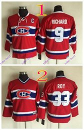 Wholesale Maurice White - youth montreal canadiens #9 maurice richard #33 patrick roy #2016 Cheap Hockey Jerseys ICE Winter mens women kids Stitched Jersey