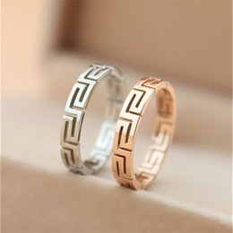 Wholesale Gold Rings Design For Men - 316L Titanium steel hollow The Great Wall design lovers Band Rings 0.3cm width for Women and Men brand jewelry in silver and rose gold free