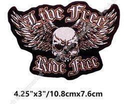 Wholesale Iron Pirate - LIVE FREE RIDE FREE Patches Pirate Crossbone Skull MC Motor Cycle Biker Vest Jacket Back Large Iron On halloween costume