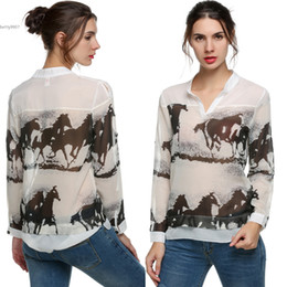 Wholesale Horses Chiffon Shirt - New Designer Ink Horse Print womens tops Blouse Retro Shirt Slim High Quality Top 3 Sizes