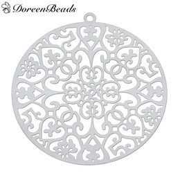 Wholesale Carved Stamps - 304 Stainless Steel Filigree Stamping Pendants Round Silver Tone Heart Carved Hollow 43mm x 40mm ,10 PCs 2016 new Free shipping jewelry maki