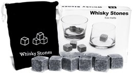 Wholesale Wholesale Beer Gadgets - Kitchen Gadgets stone cube Shape Stainless Steel Whiskey Ice Cubes Cooler Stone Wine Beer Cooling Tray Mold Ice Mould 10set