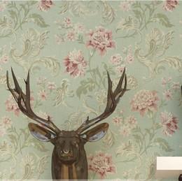 Papel de parede vintage on-line-American Vintage impressão wallcovering fundo parede moderna flor papel de parede papel de parede floral papel de parede quarto Verde / Bege
