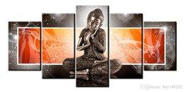 Wholesale Large Abstract Wall Paintings - YIJIAHE Classical Print Canvas Painting Buddha 5 Piece Canvas Art Wall Pictures for Living Room Large Wall Art R274 Framed