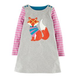 Wholesale Bunny Clothing - Autumn Dresses for girl Children clothing Striped Applique Fox Bunny Horse Dog Animal Princess Dress Long sleeve A-line 2017 Autumn Winter