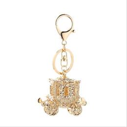 Wholesale Princess Cars - 2017 new fashion Crystal Mosaic Fairy tale princess car Key rings key Chain women jewelry Lovely Car Key chain wholesale free shipping