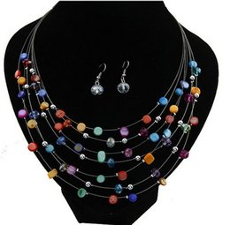 Wholesale Shell Beads Wholesale China - New Bohemian Design Multi Layer Chain Colorful Crystal Beads Shell Charm Choker Necklace Earrings Jewelry Set Statement Jewelry WY
