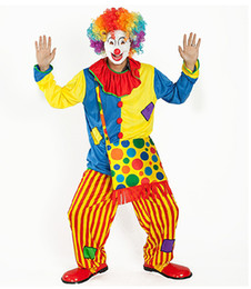 Wholesale Funny Costumes For Halloween - Funny Clown Costumes Cospaly Clown Clothes Suit Circus Costume Men Women Joker Costume for Party no bag RF0069