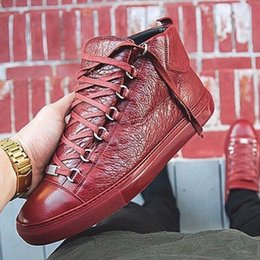Wholesale Band Skins - NEW Men's Fashion arena High-top Bovine skin wrinkle crack Leather Lace Up zapatos hombre French Style Sneakers kanye west Shoes 39-46