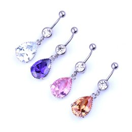 Wholesale Large Crystal Silver Rings - 4pcs lots Waterdrop Piercing Jewelry Crystal Rhinestone Belly Button Bar large diamond belly ring Navel Dangle Ring Surgical Steel