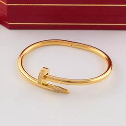 Wholesale Gold Jewelry Set Box - 2017 New Love Bracelets silver rose gold Bangles Women Men nail Bracelet Couple Jewelry with original box set
